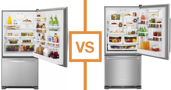 Best Bottom Freezer Refrigerator - KitchenAid vs Whirlpool