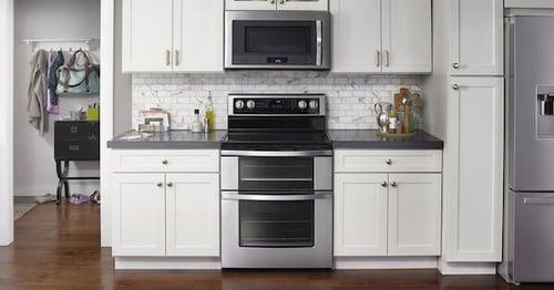 Above the Fold Image Double Oven Range - Whirlpool WGE745C0FS Lifestyle Image
