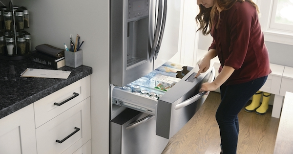 Above the Fold Image Four Door Refrigerator - Samsung RF24FSEDBSR Lifestyle Image