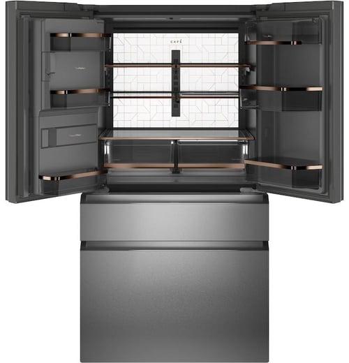 GE Cafe CVE28DM5NS5 Modern Glass Refrigerator Interior