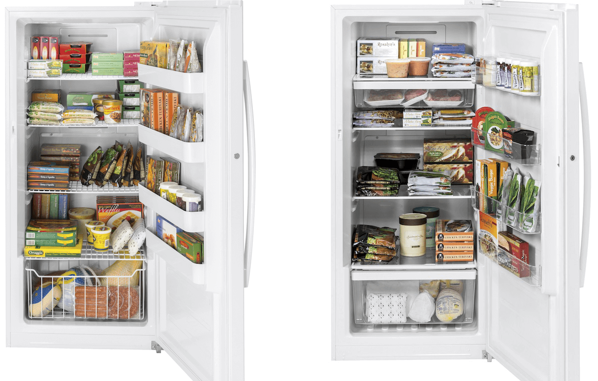 GE Upright Freezer Interior Comparison