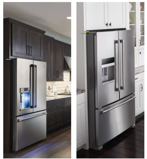 Refrigerator Sizes - Height to Top of Case vs to Hinge and Doors