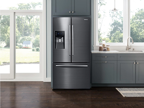 Samsung Black Stainless Steel Refrigerator Lifestyle Image