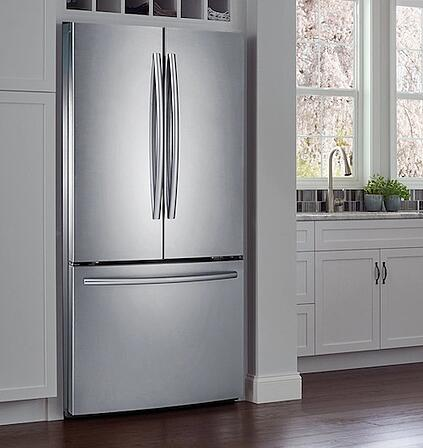 Slate vs Stainless Steel_Samsung RF220NCTASR French Door Refrigerator in Stainless Steel