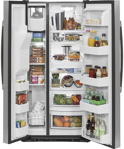 Side by Side Refrigerator Pros Cons Features - Detail Photo - GE Appliances GSS23GSKSS