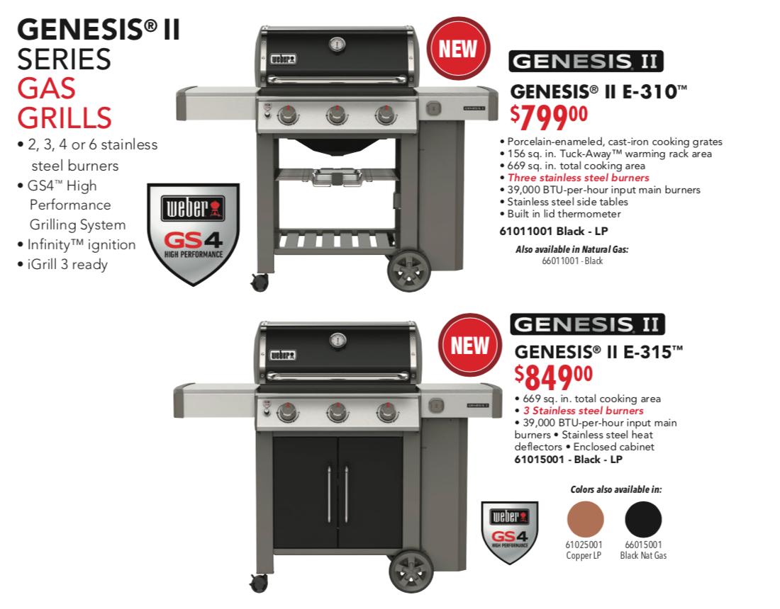 Weber Genesis 310 315 Poster Pricing 2019