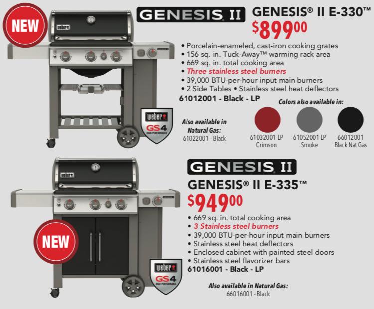 Weber Genesis E 330 and E 335 Poster Pricing 2019