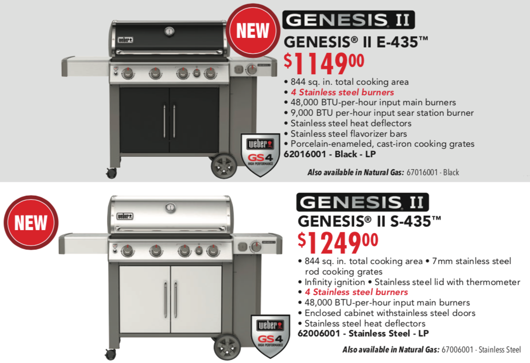 Weber Genesis E 435 and S 435 Poster Pricing 2019