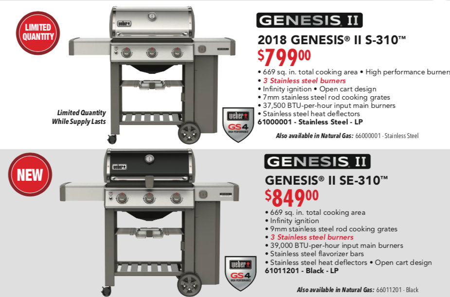 Weber Genesis S 310 and SE 310 Poster Pricing