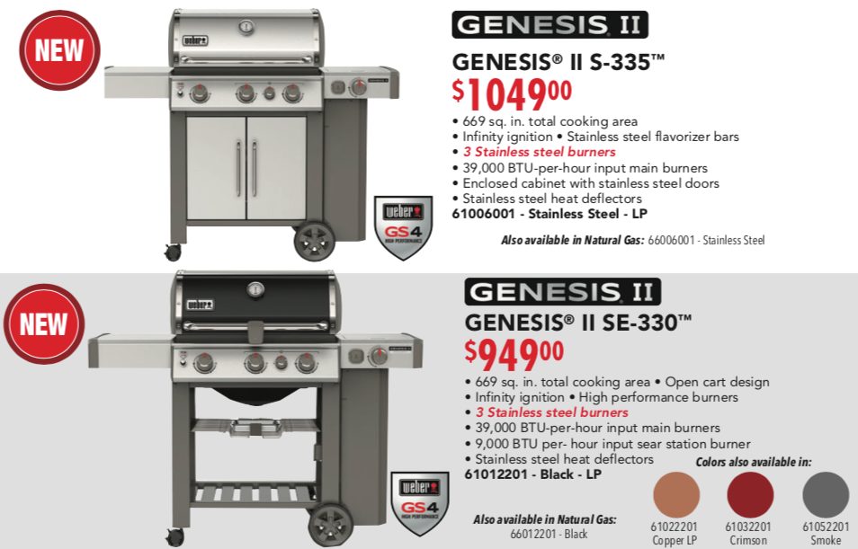 Weber Genesis S 335 and SE 330 2019 Poster Pricing
