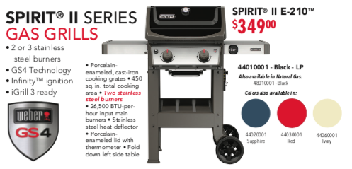 Weber Spirit E 210 Grill Poster Pricing 2019